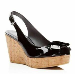 Stuart Weitzman Bodajean Peep Toe Slingback Wedge Sandal Black Patent Size 10