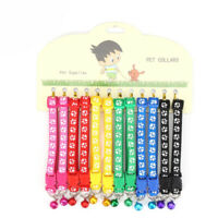 12 Pcs Colorful Adjustable Dog Collars Pet Cat Puppy Buckle Nylon Collar W/ Bell