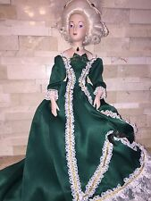 FRANKLIN HEIRLOOM MARIE ANTOINETTE DOLL WITH STAND STAINED DRESS