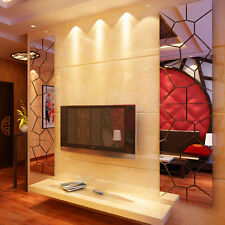 Moire Pattern Square Mirror Removable Wall Stickers Decal Living Room Decor US