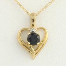 "New Sapphire Heart Pendant Necklace - 10k Yellow Gold Fine Twist Chain 18"" .30ct"