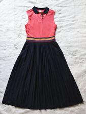 PAUL SMITH orange polo shirt dress pleated midi skirt stripe collar preppy 42 10