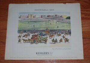 1960's? 'Baseball-1878' Colorized Reprint Poster by Kessler's Blended Whiskey