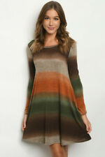 New Boho Ombre Fall Colors Fit & Flair Western Long Sleeve Sweater Dress S-M