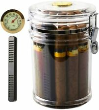 Acrylic Humidor Cigar Cigars Jar Holder w/ Humidifier Hygrometer Clear 7.28 x 5