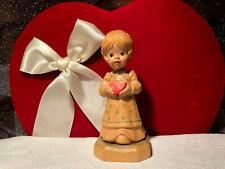 Vtg Anri Girl Heart Figurine Gift of Love Sarah Kay Italy Valentine's Décor Doll