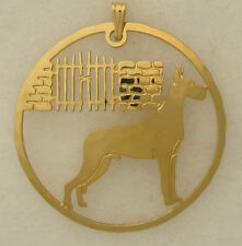 Great Dane Jewelry Gold Scene Pendant by Touchstone