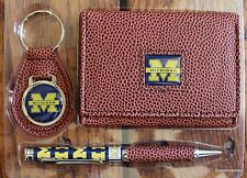 Michigan Wolverines Football  NCCA Brown Tri-Fold Wallet Keyring Pen Gift Set