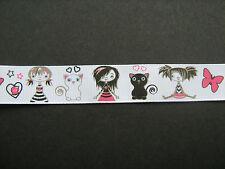 Gato, Niña Y La Mariposa de cinta de Grogrén 2.2 Cm X1m sewing/costume/crafts / Pastel