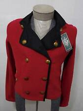 Ralph Lauren Women's Cardigan Sweater Crest Gold Button Coat Double Breast Red M