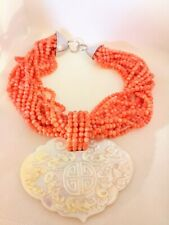 COLLIER NECKLACE JOAILLERIE INTINI JEWELS MILANO CORAIL ROSE NACRE AG 925