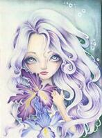 ACEO GORGEOUS GIRL LAVENDER PURPLE HUES ORCHID GARDEN FLOWERS BOTANICAL PAINTING