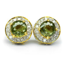 3.56ct t.w 2pcs Natural Demantoid Garnet Earring & 64pcs Diamond 18K Yellow Gold