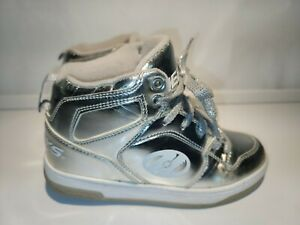 Heeleys Flash Chrome Hi Top Skate Shoes With Wheels Youth Size 4