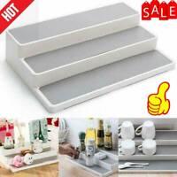 1X White 3 Tier Shelf Jar Rack Holder Cupboard Organiser Storage Kitchen O6S9