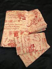 Rare! Pottery Barn French Country Red Toile 4PC Full Sheets Set