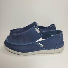 Crocs Men's Santa Cruz Blue Navy Canvas Slip On Loafers Size 10