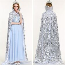 "Silver 71"" Long Cloak Coat Scales-Sequin Satin Cape Beauty Pageant Party Costume"