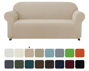 """New, Stretch 1 Piece Textured Grid Loveseat Slipcover, Camel. Fits 57-70"""" Wide"""