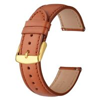 Anbeer Leather Watch Strap 18mm 20mm 22mm Brown with Gold Buckle Replacment Band