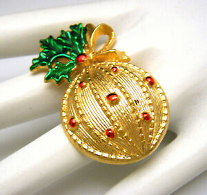 Vintage Signed AAI Enamel Red Green Christmas Ball Pin Brooch Gold Tone