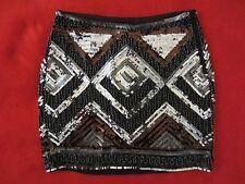 WOMENS H&M SEQUINS BEADS SPARKLE BLACK MULTI COLOR MINI SKIRT SIZE 4 US/ 34 EUR