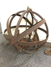 Medieval Gothic Large Steel Orb Electric Candle Light Chandelier Hand Crafted
