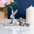 Silver Rabbit Ornament Figure Animal Hare & Baby Sculpture Home Decoration Gift