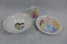 Disney  Princesses Dinnerware Set Ceramic 3 Piece Set Plate Bowl Mug New  Gift