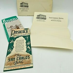 Vintage 1949 San Carlos Hotel Pensacola FL Flyer Brochure Room Stationery BK18