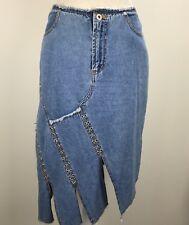 Sunshine Apparel Hipster Denin Asymmetrical Patch Stud Jean Skirt Plus Size 7/8
