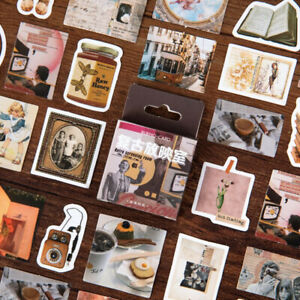 46 Vintage Retro Junk Journal Stickers Mini Box - Paper Peel Off - Journalling
