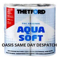 THETFORD AQUA SOFT TOILET ROLL 4 PACK CASSETTE QUICK DISSOLVING PAPER CARAVAN