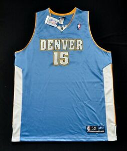 CARMELO ANTHONY MELO DENVER NUGGETS Reebok Authentic Jersey BABY BLUE 52 2XL MEN
