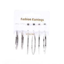 Elegant 6 pair Earrings Set Rhinestone Stud Ball Hoop Earrings Set Jewelry fo