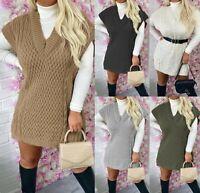 Women's Ladies Cable Knitted V Neck Sleeveless Oversized Jumper Vest Top Dresses