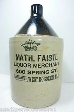 Antique Stoneware Hoboken New Jersey Liquor Jug Math. Faistl Liquor Merchant NJ