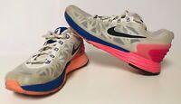 NIKE LUNARGLIDE 6 Women's Running Shoes in White/Pink/Cobalt 654434-101 (SIZE 7)