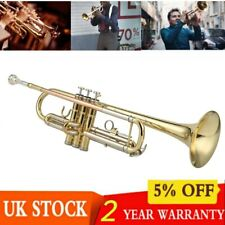 More details for exquisite trumpet bb b flat brass w/ a golden-plated mouthpiece padded case