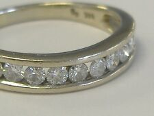 14K White Solid Gold Natural Diamond Wedding Band 0.50Ct With Curve Size 9