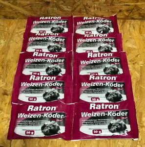 10 x Ratron Weizen-Köder 29ppm 50 g Rattengift Rattenköder Rodentizid Mäusegift