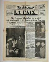 N681 La Une Du Journal Paris-soir 1 octobre 1938 Édouard daladier au Bourget