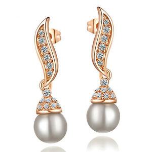 BRIDAL/WEDDING PEARL GOLD Diamanté/Crystal/Cubic Zirconia Pave Drop Earrings