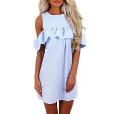 Womens Summer Short Mini Dress Ladies Cold Shoulder Beach Evening Party Sundress