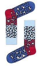Happy Socks Bright Block Leopard Print Socks UK Size 4 - 7  Unisex Ladies Socks