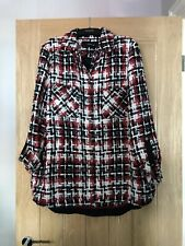 Zara Tweed Style Red Black & White Overshirt Jacket Size Large NEW