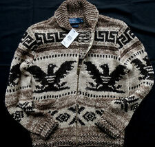 Ralph Lauren hand Knit Brown Intarsia Cowichan SWEATER CARDIGAN TAGLIA M