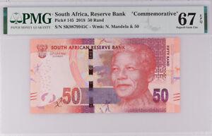 South Africa 50 Rands 2018 COMM. P 145 SUPERB GEM UNC PMG 67 EPQ NR