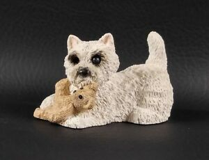 Stone Critters WESTIE PLAYING with TEDDY BEAR Figurine SCB-072 USA New With Tag