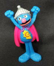 "Mattel Sesame Street Super Grover 2008 3"" PVC Toy Figure Cake Topper Loose EUC"